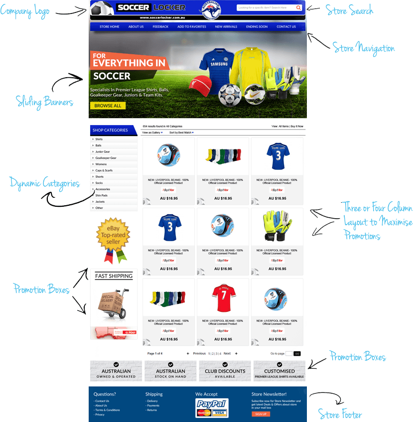 Professional ebay listing template store designs custom ebay ebay stores certified designer pronofoot35fo Image collections